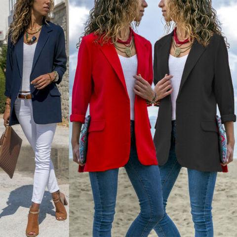 Women Fashion Cotton Blend Slim Business Blazers Work Wear Comfortable Suit Outwear New 2019 Autumn Spring Karachi