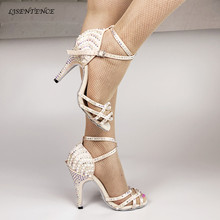 купить Fashion Ballroom Latin Tango Dance Shoes Women Soft Sole High Heels for Women Skin Color Stable Dancing latin dance shoes woman дешево