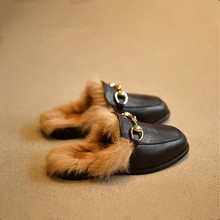 2016 winter boys girls shoes kids slippers for girl home slippers rabbit hair parent-child plush shoes children PU leather shoes