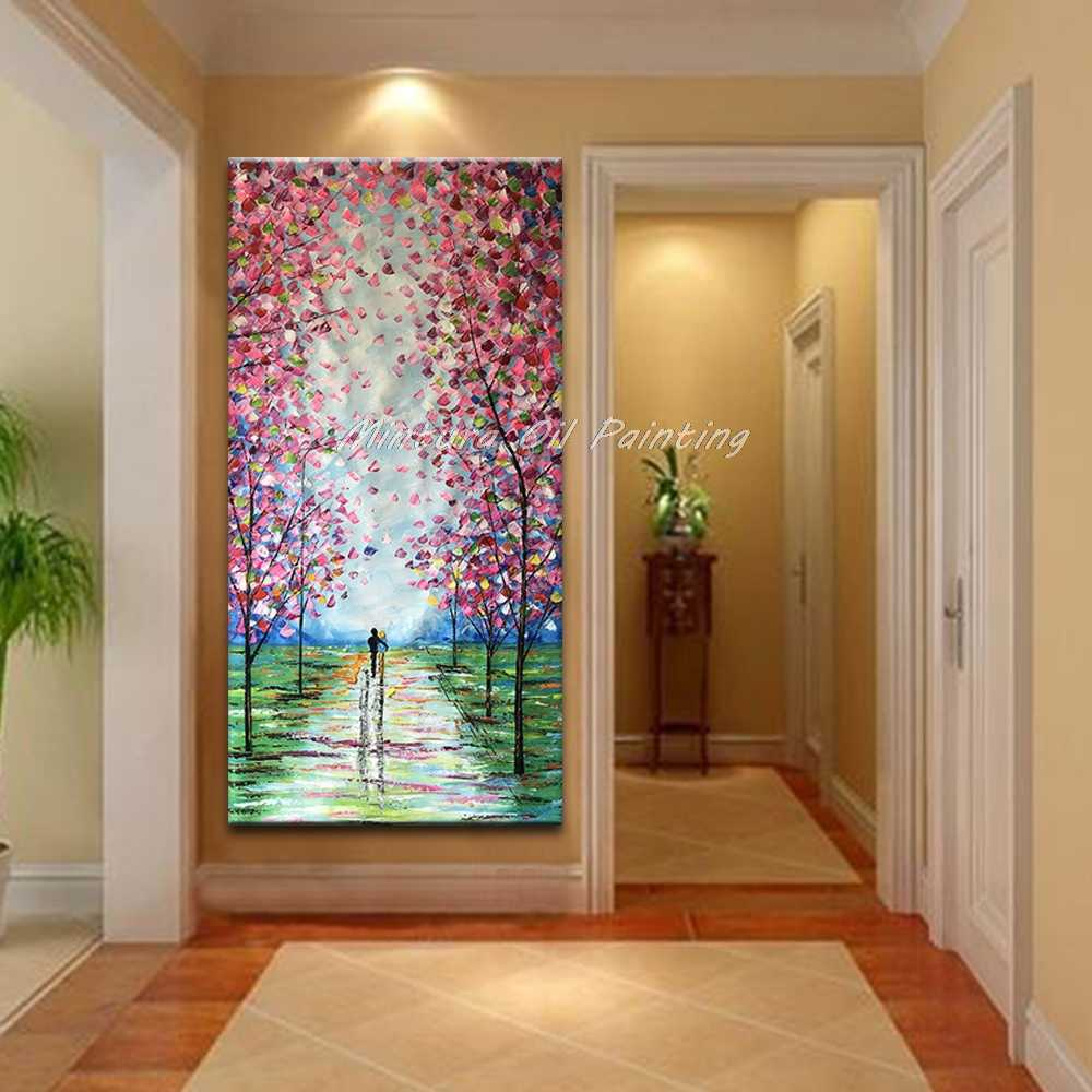 Mintura Large Size Hand Painted Knife Landscape Oil Painting on Canvas Modern Abstract Wall Pictures For Living Room Home Decor