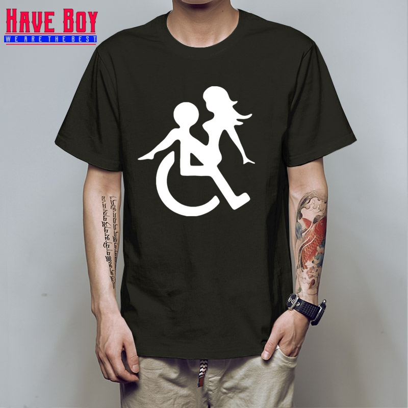 HAVE BOY Wheelchair Sex Funny Novelty T-shirt Men Fashion Cotton Short Sleeve Tshirt Top ...