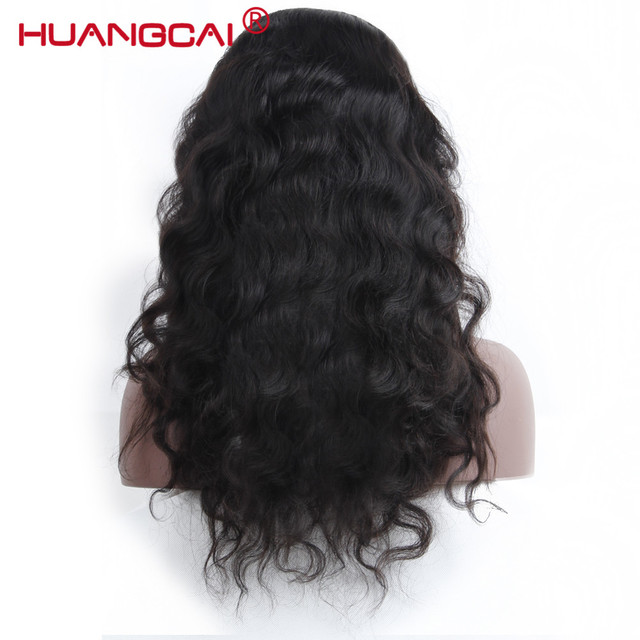 360 Lace Frontal Wig With Baby Hair Pre Plucked Peruvian Body Wave Lace Front Human Hair Wigs For Women Remy Black Huangcai Hair
