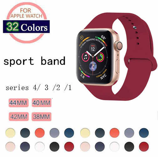32 Colors Soft Silicone Replacement Sport Band For Apple Watch Band 44mm 40mm Series4/3/2/1 42mm 38mm Wrist Bracelet Strap