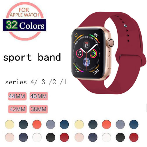 32 Colors Soft Silicone Replacement Sport Band For Apple Watch Band 44mm 40mm Series4 3 2 1 42mm 38mm Wrist Bracelet Strap in Watchbands from Watches