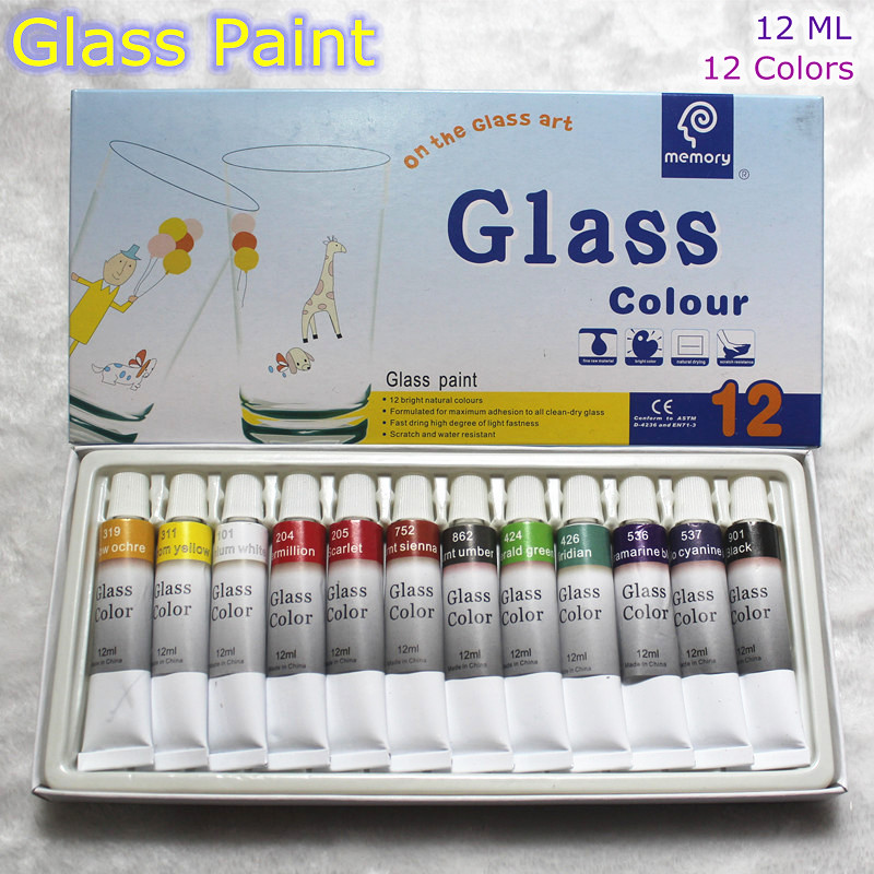 Color Glass and Acryl Paint - Set of 12