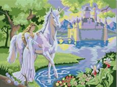 MaHuaf-W1123 Fairy Castle and horse coloring by numbers on canvas hand painted cuadros picture painting for wall decor