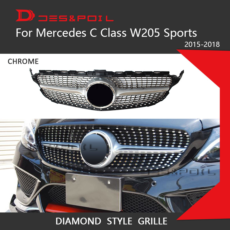 For Mercedes Benz C Class W205 Diamond Grille Auto Front Bumper Racing Grill Sports Model Only 2015-2018 C180 C200 C220 C250 C43 grille