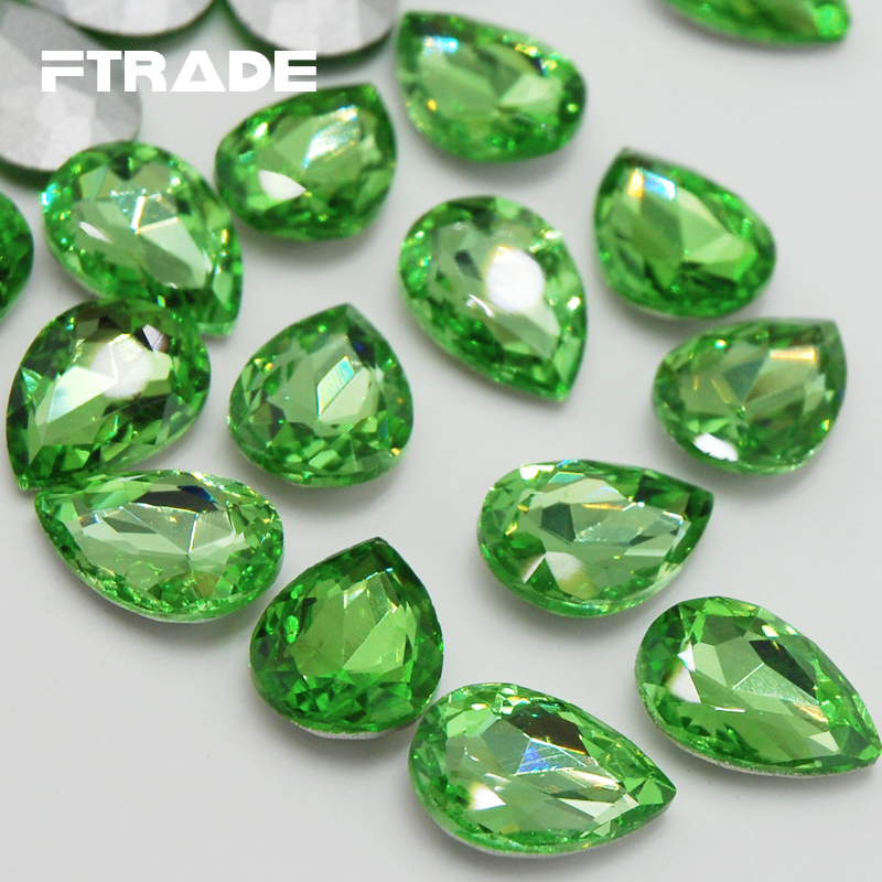 DIY Wedding Dress Jewelry And Clothing Decoration Light Green Color  Teardrop Shape Point Back Glass Crystal Strass Stones-in Rhinestones from  Home   Garden ... 47378a16a54f