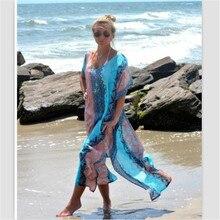 Vertvie Для женщин с сокрытия сексуальные длинное платье Купальники для малышек пляжная туника Cover Up быстросохнущая летнее шифоновое Одежда заплыва Пляжная накидка