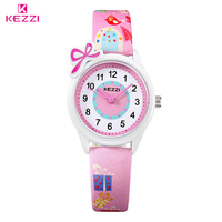 KEZZI New Cute Bow Cartoon Watch Waterproof Girl Kid Children Wristwatches Round Dial Printings Leather Strap