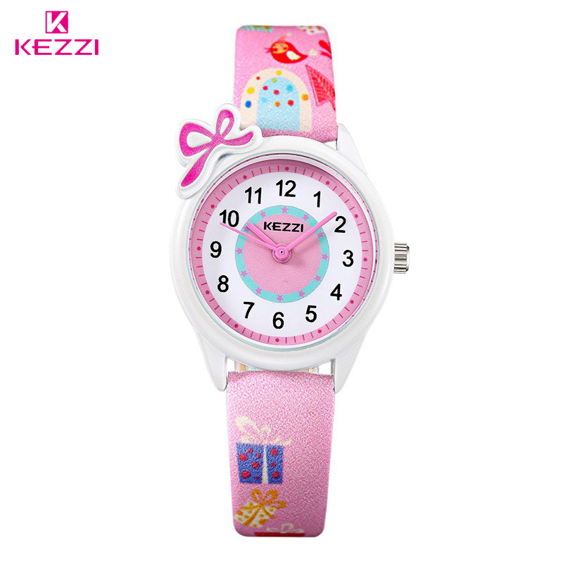 KEZZI New Cute Bow Cartoon Watch Waterproof Girl Kid Children Wristwatches Round Dial Printings Leather Strap Quartz Watch Reloj