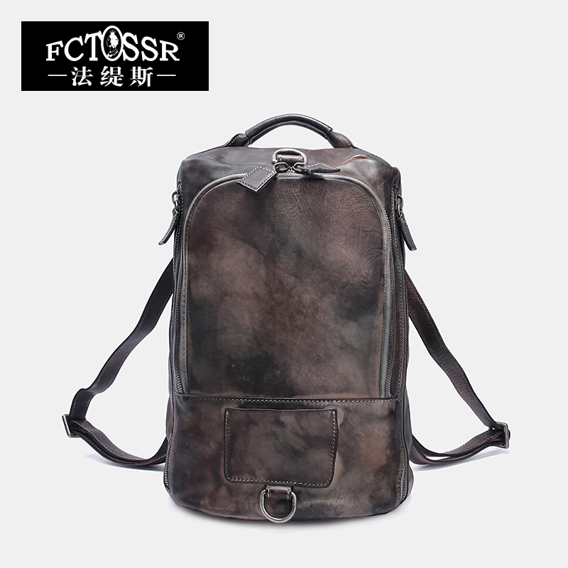 Genuine Leather Backpack Female Original Brush Color Bag Travel Backpack Top Handle Bag 2019 Handmade Rucksack Men/Women