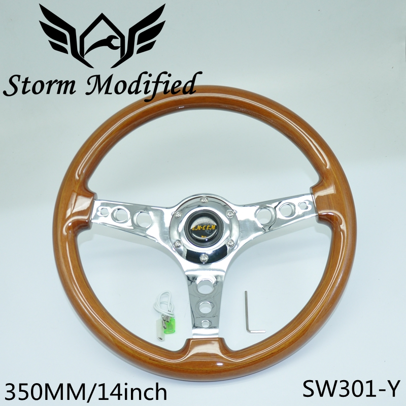Universal Pure Wooden Steering Wheel Classic 350MM 14inch Car Brown Mahogany Wood 3 Electroplated Steel Spoke SW301-Y