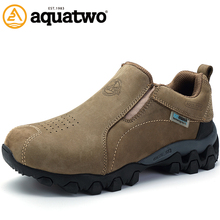AQUA TWO Outdoor Camping Men Sports Hiking Shoes Genuine Leather Walking Sneakers Durable Waterproof Shoes Big EUR Size 39-48