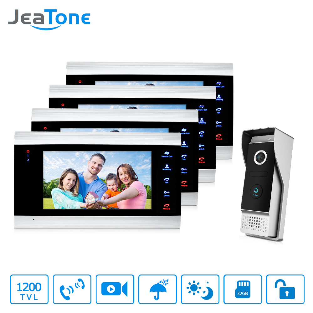 JeaTone Video Doorbell Phone Intercom Monitor 7 inch LCD door intercom phone Intercom System With 1 3.7mm Lens Outdoor Camera 7 inch rain proof lens adjustable wired intercom video door phone with two outdoor camera