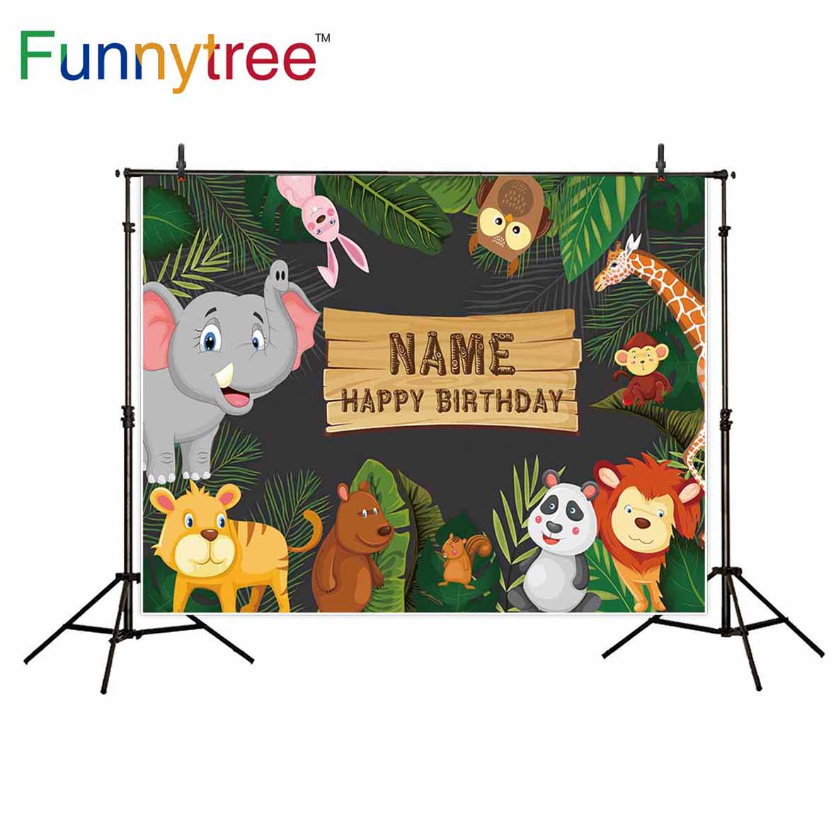Funnytree birthday backgrounds for photography studio Jungle party animals cartoon leaves forest kid backdrop printed photocall the window office paper sticker pervious to light do not transparent bathroom window shading white frosted glass tint