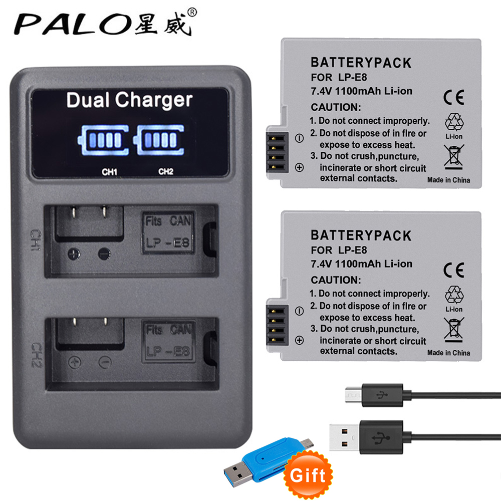 PALO 2 piezas LP-E8 LP E8 LPE8 1800 mAh batería de la Cámara + LED cargador Dual para Canon EOS 550D 600D 650D 700D rebelde T2i T3i T4i T5i