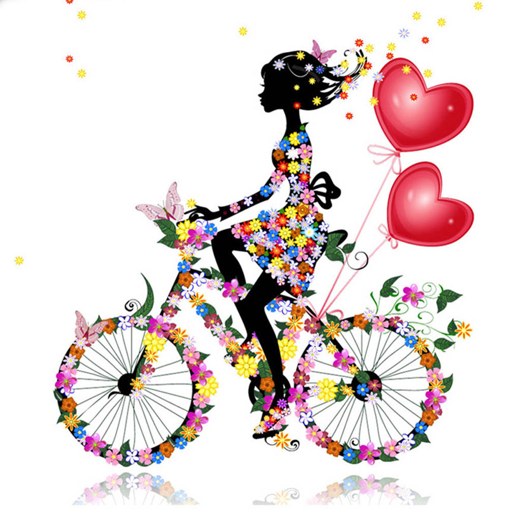 1 pc 30*30cm Beautiful Girl Cycling & Butterflies Diy Diamond Painting Cross Stitch Embroidery Home Decorative Paintings