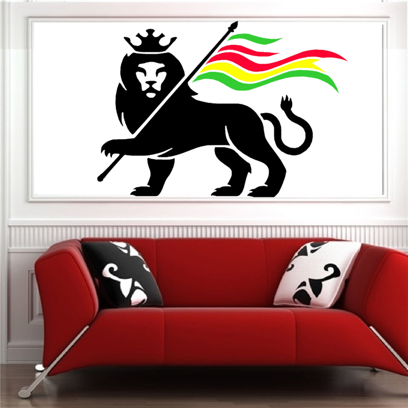 D248 rasta lion rastafari lion of judah bob marley vinyl wall art sticker decal for living room home decor in wall stickers from home garden on