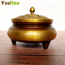 Bronze hollow simple bronze incense burner brass home Buddhist supplies interior decoration ornaments