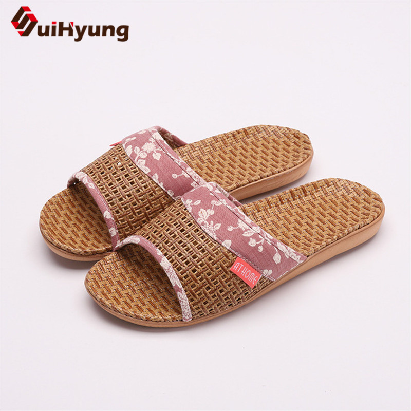 Suihyung Lovers Indoor Slippers 2019 New Summer Women Breathable Flax Slides Flip Flops Woman Man Casual Flat Sandals Plus Size 1