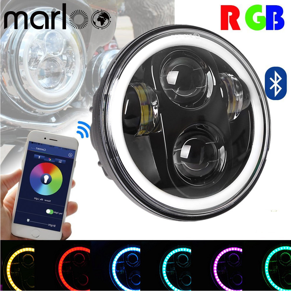 купить Marloo 5.75 RGB Halo Headlight Motorcycle Angel Eye RGB Halo Ring Bluetooth Phone APP Controlled For Harley Davidson Dyna недорого