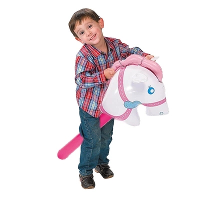 10 Pcs/Set Pink Horsehead Inflatable Stick Ride-on Animal Toys For Kids Horse Riding Game Outdoor Plaything Party Supply Blow Up