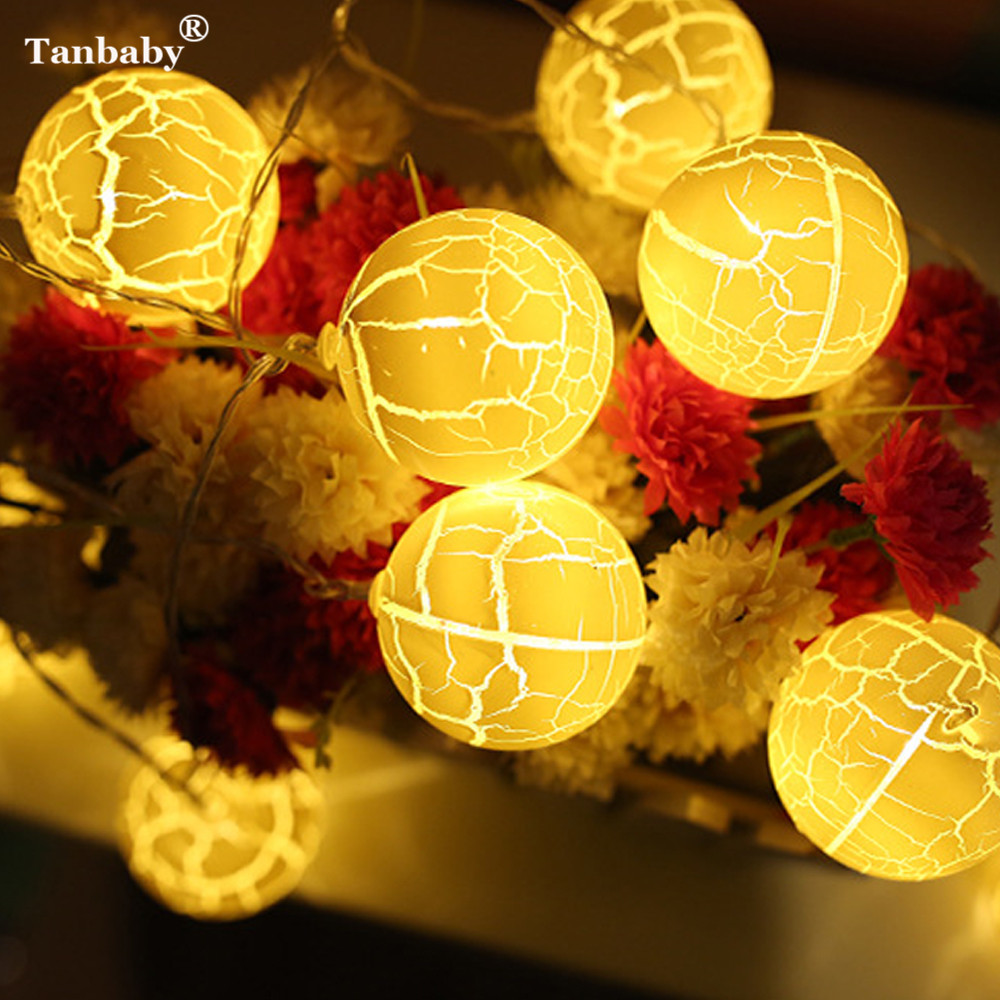 Tanbaby 10PCS/20PCS Color Crack Ball LED String Light 6CM Globe Ball Fairy Light For Party Wedding New Year Christmas Decoration
