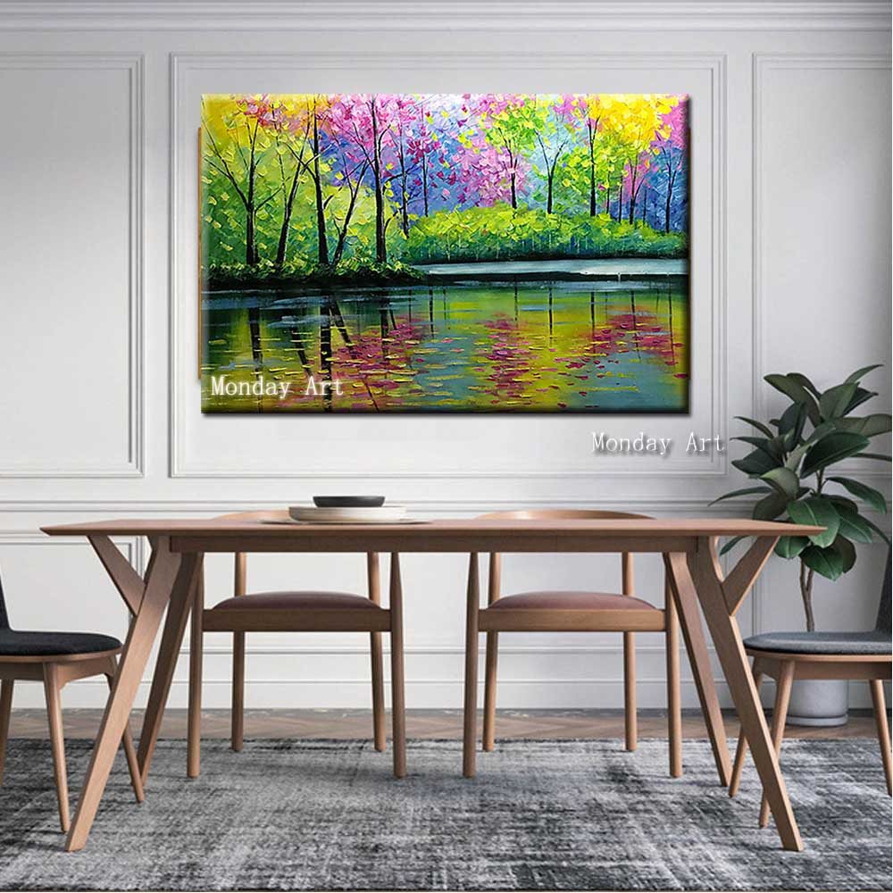 Dropshipping gift Hand Painted modern Forest Tree Canvas Oil Painting wall Picture landscape artwork Paintings for Living Room in Painting Calligraphy from Home Garden