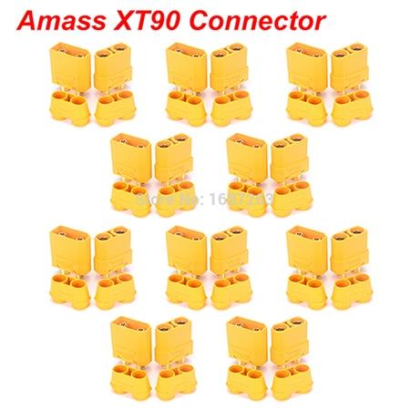 """10 пар XT30 XT30U XT60 XT60H XT90 EC2 EC3 EC5 T разъем батареи набор мужской женский Позолоченный разъем типа """"банан"""" для RC частей - Цвет: 10pairs Amass XT90"""