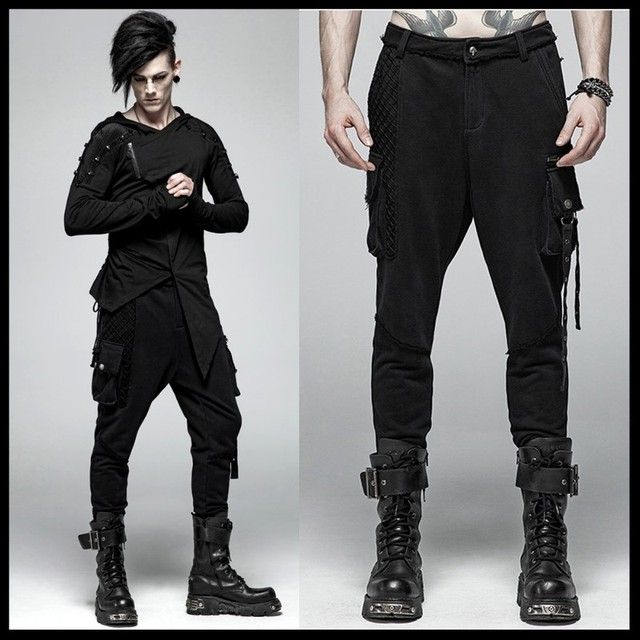 PUNK RAVE Men Punk Rock Black Knit Trousers Casual Men Streetwear Big Pocket Long Punk Cross Pants 17