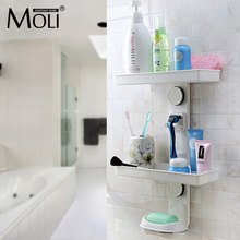 Multifunction suction cup bathroom shelf wall mounted dual layer storage shelves with shavers holder and soap dish