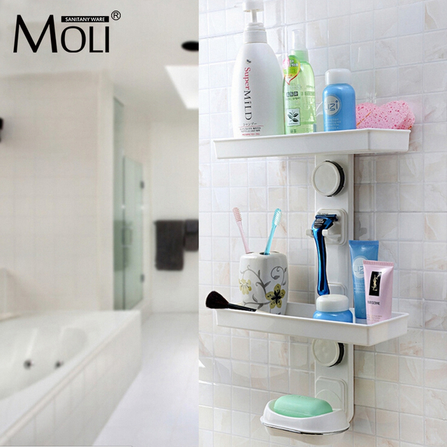 Multifunction Suction Cup Bathroom Shelf Wall Mounted Dual Layer Storage  Shelves With Shavers Holder And Soap