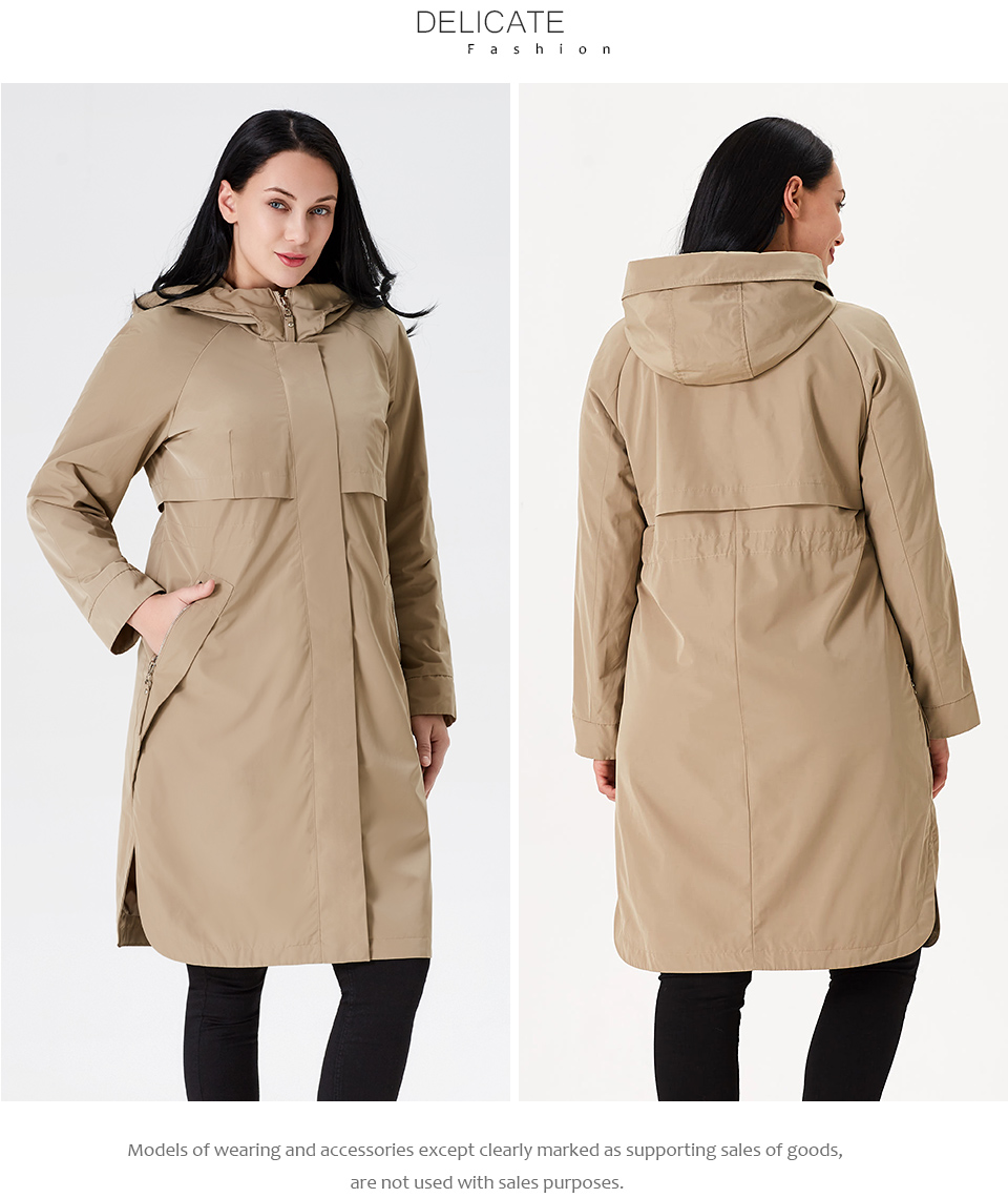 19 Trench Coat Spring And Autumn Women Causal coat Long Sleeve With Hood Solid color female moda muje High Quality new AS-9046 10