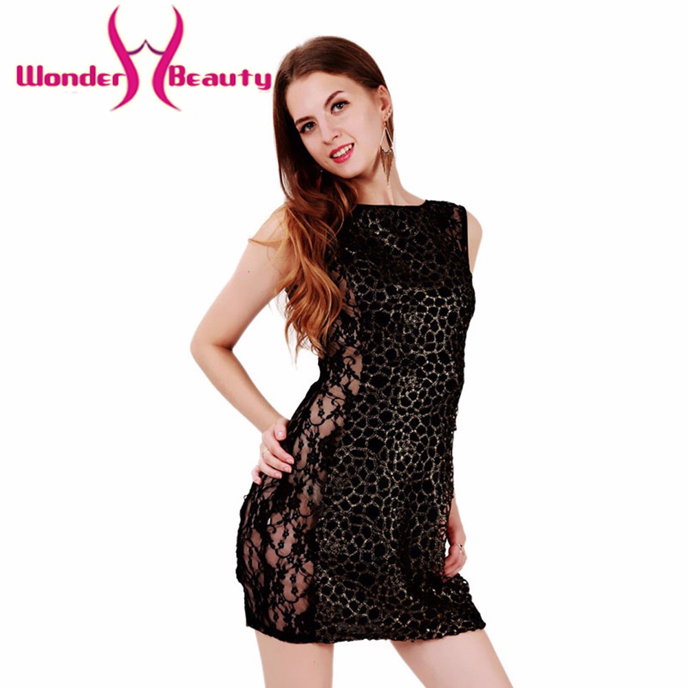 Wonder beauty Black Sexy Women Ladies Floral vestidos Lace sexy Club Dress Sleeveless Bodycon sexy mini see through Dress