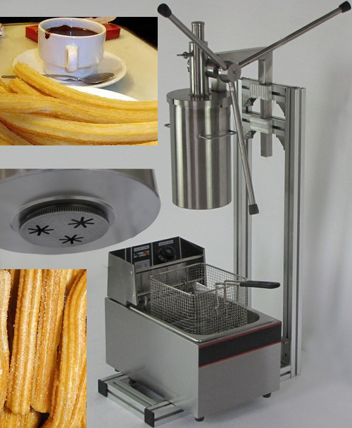 3L Capacity Of Spanish Churros Filler Maker/making Machine Luxury Churros Machine With 6L Electric Fryer With Free Shipping