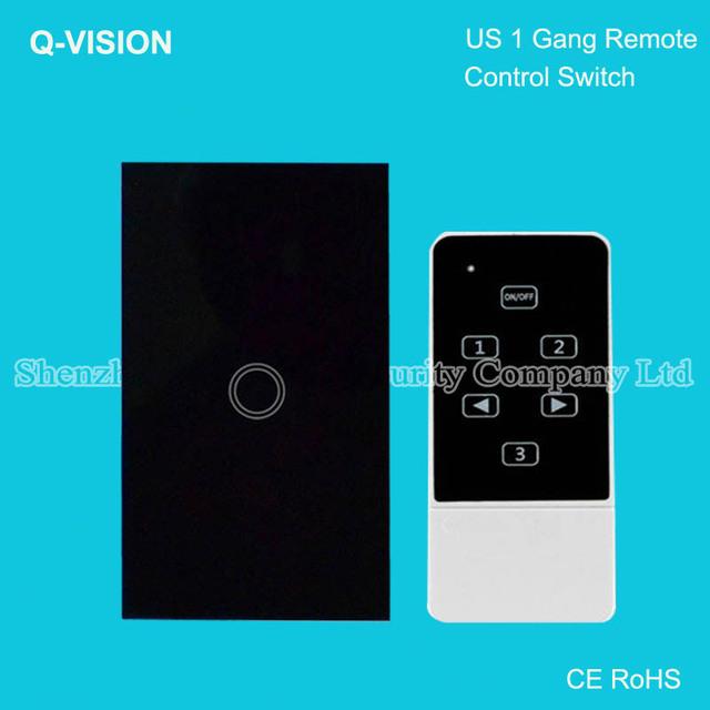 Ee.uu. standard 1 gang, control remoto inalámbrico táctil de interruptor de pared, casa inteligente, control broadlink rm pro, cristal vidrio templado, ac110-250v negro