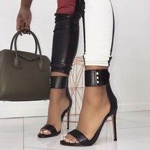 DEleventh Sexy Black PU Women Sandals Stiletto High Heels Shoes Rivet Belt Buckle Back Zipper Peep Toe Fashion Lady Chaussures