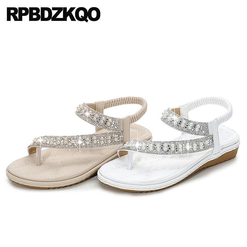 Bridal Shoes Wide Width: Wedding Women Sandals Flat Summer 2019 Crystal Diamond Big