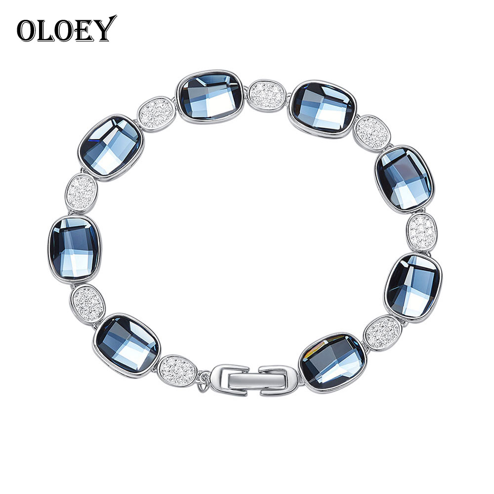 OLOEY Luxury Crystals Bracelets for Women 100 Real 925 Sterling Silver Bracelet Bangle Fine Accessories Jewelry