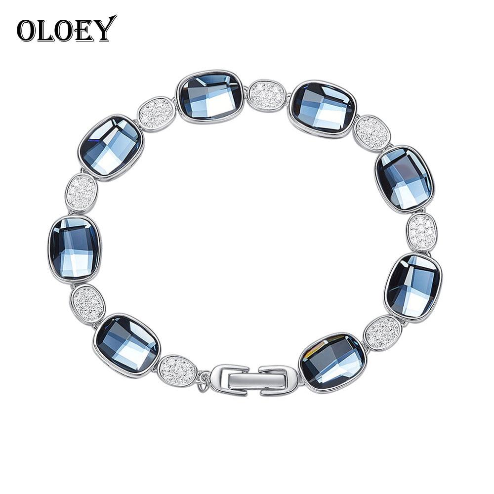 OLOEY luksusowe kryształy bransoletki dla kobiet 100% prawdziwe 925 srebro bransoletka srebrna bransoletka drobne akcesoria biżuteria 2018 nowy YMB004 w Bransoletki i obręcze od Biżuteria i akcesoria na  Grupa 1