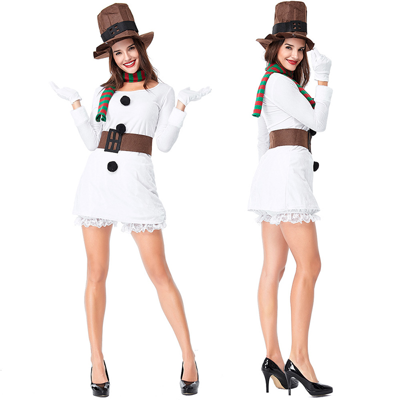 2018 new foreign trade couple Christmas snowman costume white Christmas suit Christmas stage costume
