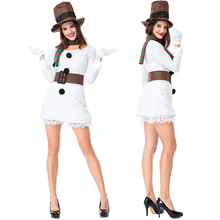 2018 new foreign trade couple Christmas snowman costume white suit stage