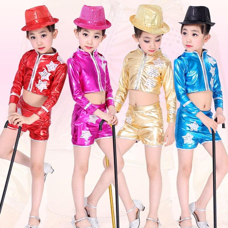 red bright girls boys modern hip hop dance costumes kids ballroom