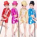 Red Bright Girls Boys Modern Hip Hop Dance Costumes Kids Ballroom Jazz Dancing Outfits Top&Pant