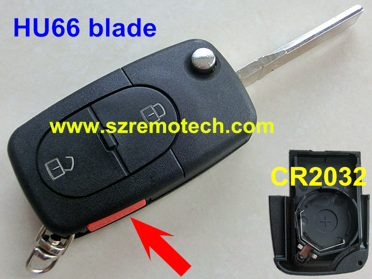 Free Shipping Folding Flip Replacement 2 1 Button Remote Key Blank HU66 blade Fob Fit For