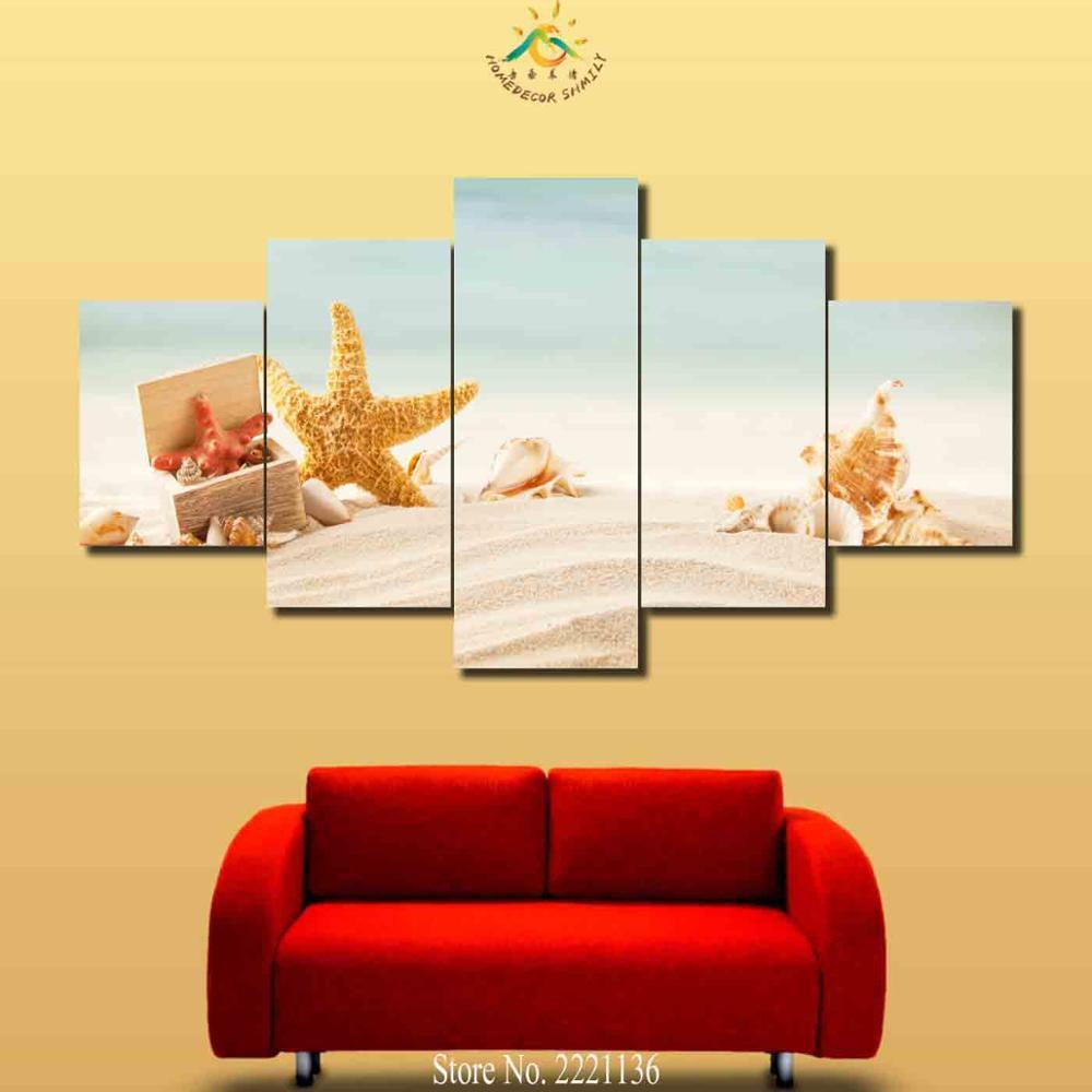 Online Shop 3-4-5 Pieces Seaside Jellyfish Starfish Modern Wall Art ...