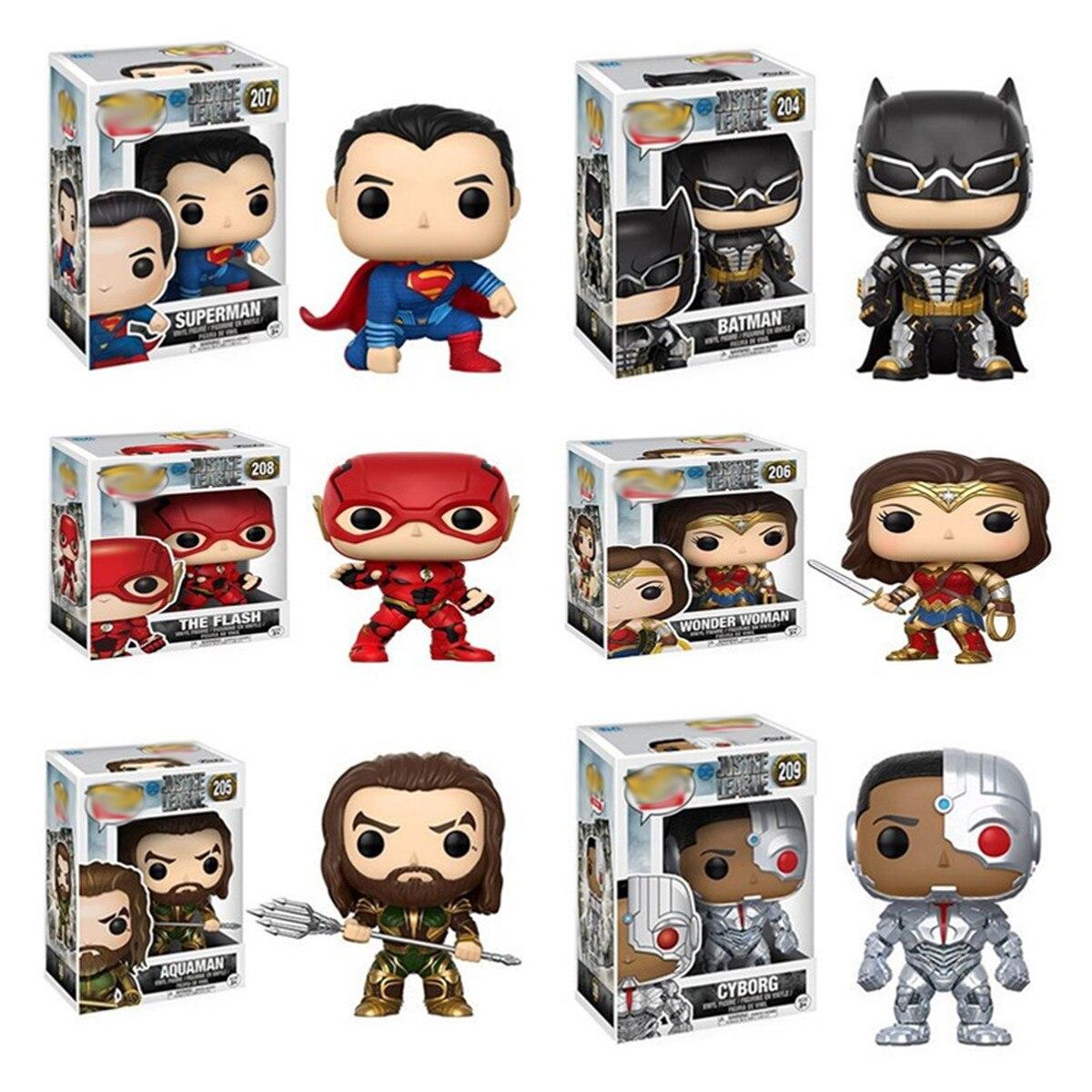 Justice Alliance Funkos Pops Aquaman figurine d'action Mini Flash homme merveille femme Aquaman Superman Batman Funkos Pops figurine d'action