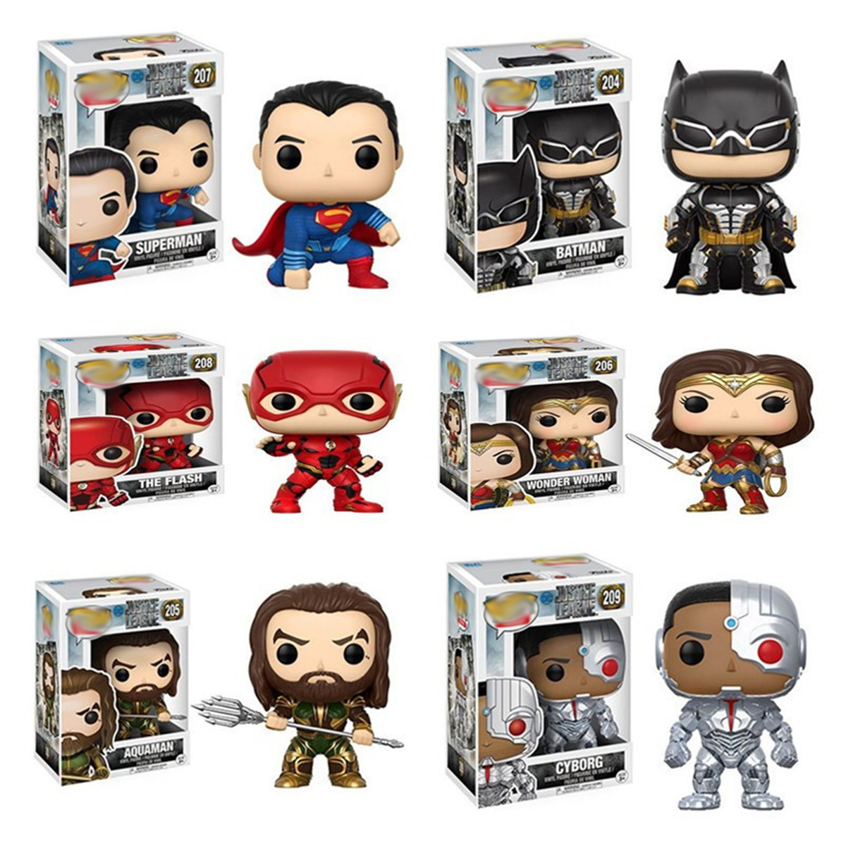 Justice Alliance Funkos Pops Aquaman figurine d'action Mini Flash homme merveille femme Aquaman Superman Batman Funkos Pops figurine d'action