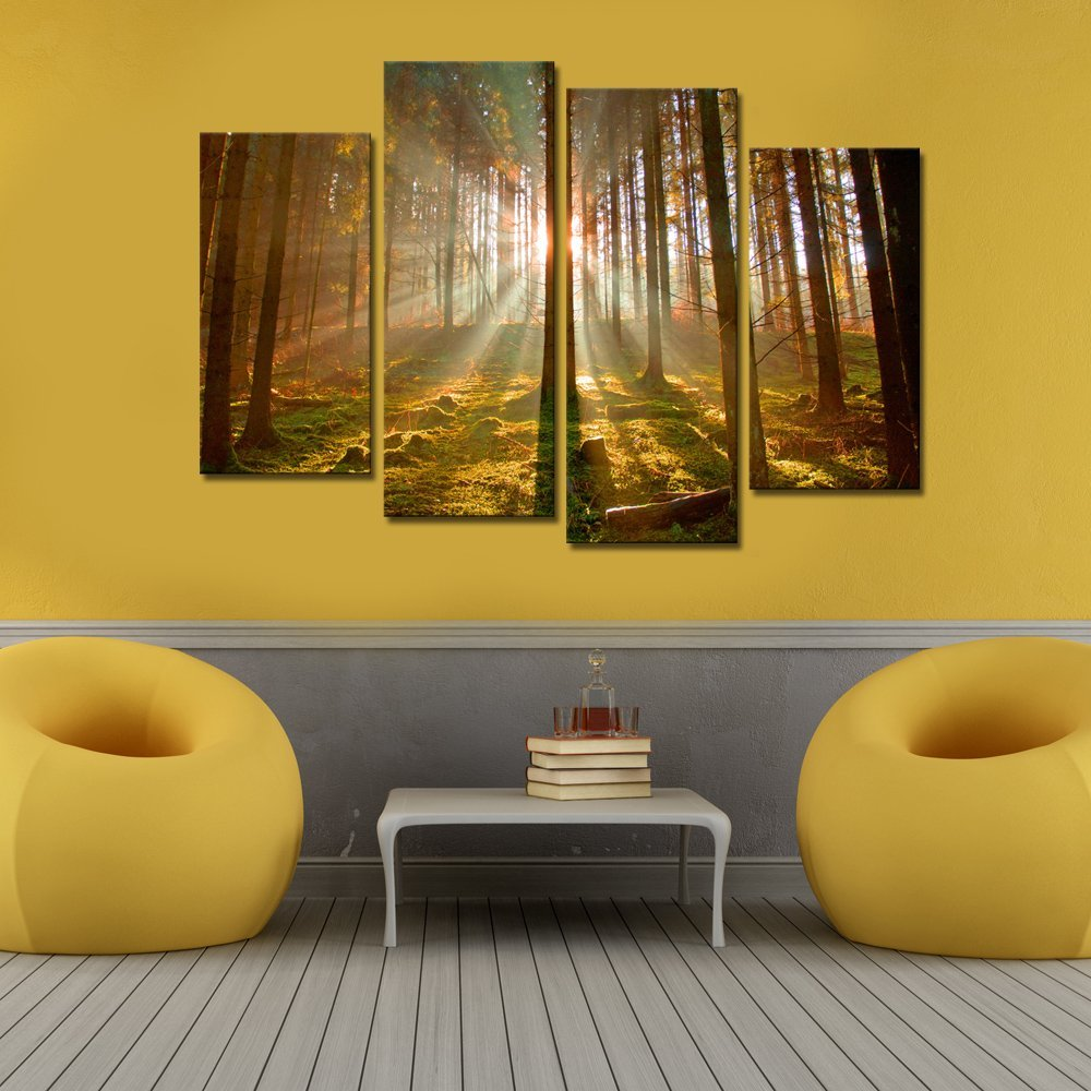 Large size 4 panels Group Canvas Wall Art Sunshine in Autumn Forest ...